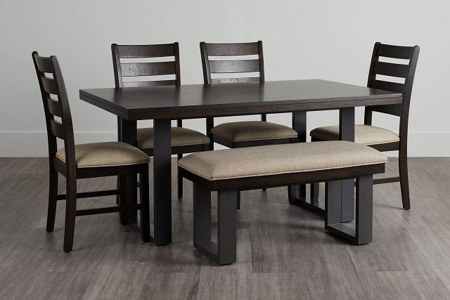 Sawyer Dark Tone Rect Table, 4 Chairs & Bench (0)