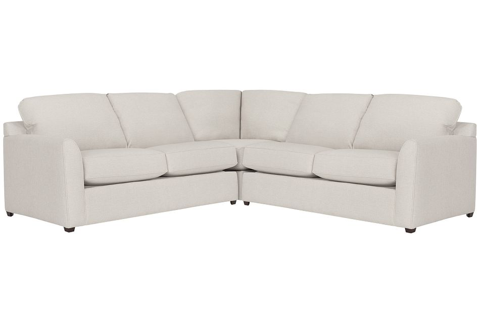 Asheville Light Taupe Fabric Small Two-arm Sectional