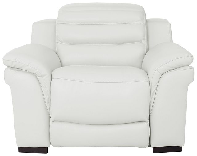Sentinel White Lthr/vinyl Power Recliner With Power Headrest (2)