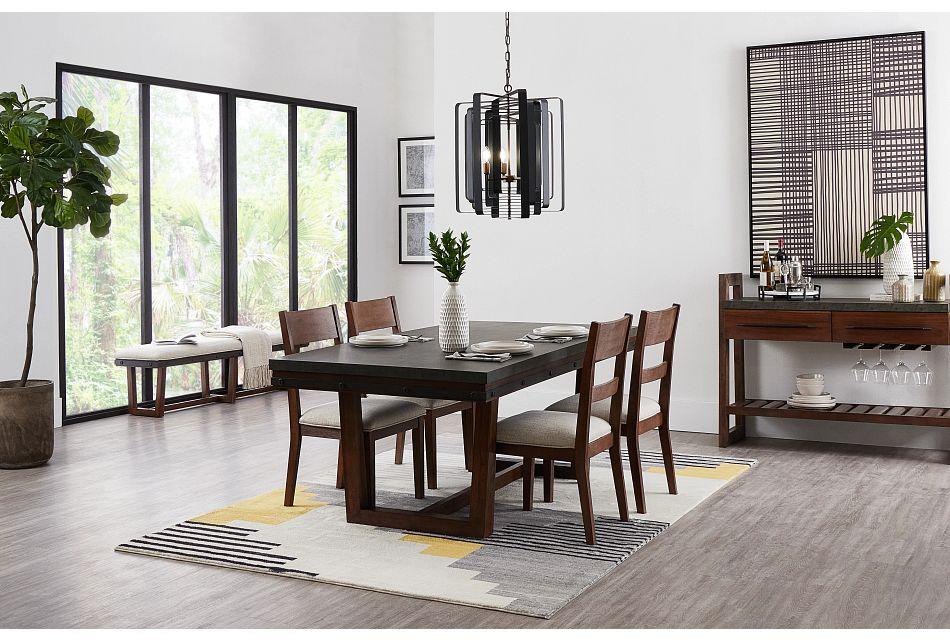 Forge Dark Tone Rectangular Table & 4 Wood Chairs,  (1)