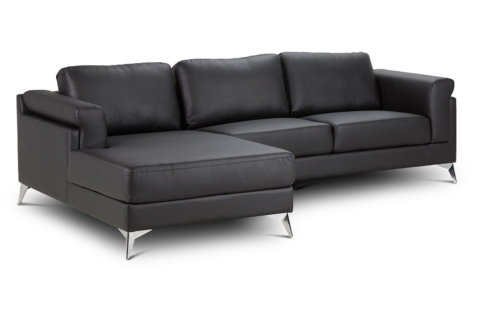 Gianna Black Micro Left Chaise Sectional, %%bed_Size%% (1)