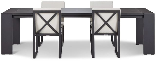 """Linear Dark Gray White 110"""" Aluminum Table & 4 Cushioned Side Chairs (2)"""