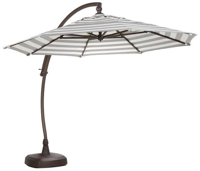 Cayman Gray Stripe Cantilever Umbrella Set (2)