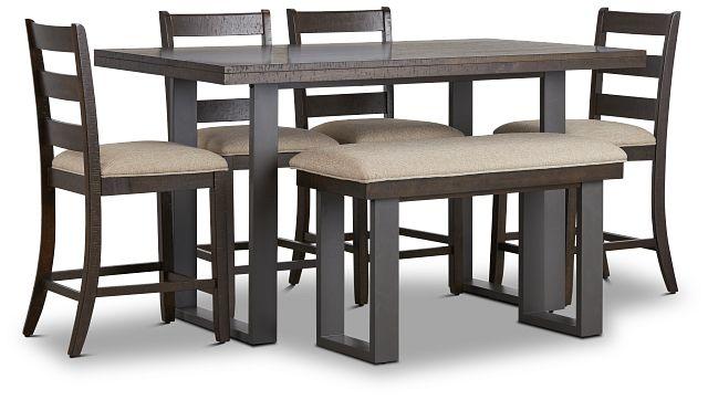 Sawyer Dark Tone High Table, 4 Barstools & High Bench (1)