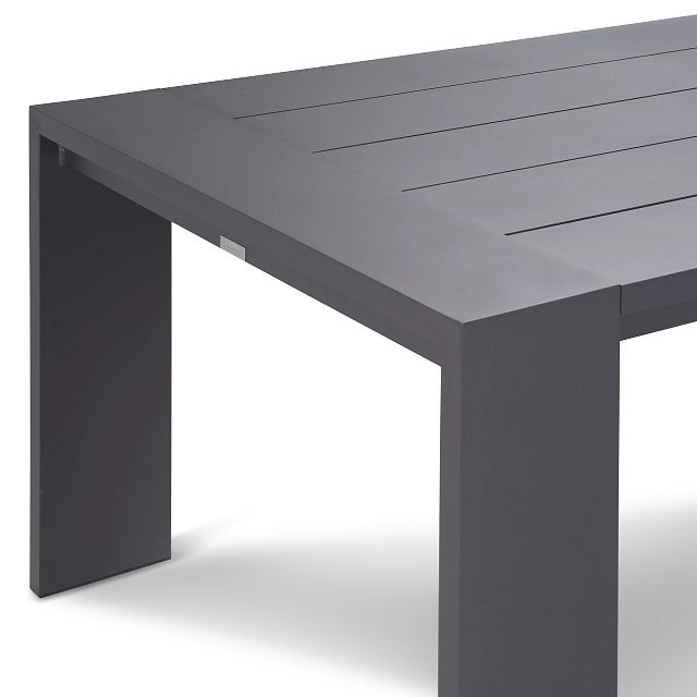 """Linear Dark Gray White 87"""" Aluminum Table & 4 Cushioned Side Chairs (3)"""