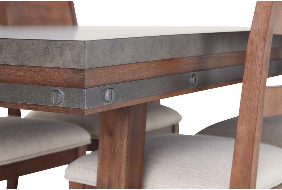 Forge Dark Tone Rectangular Table & 4 Wood Chairs