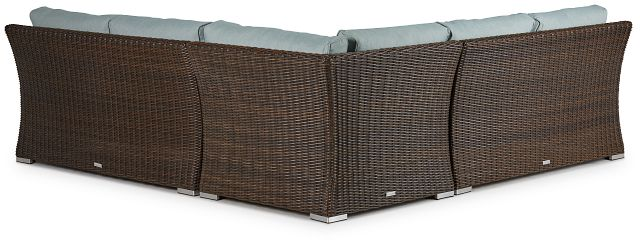 Southport Teal Woven Small Two-arm Sectional (2)