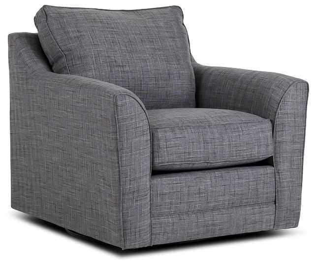Charlie Gray Fabric Swivel Accent Chair (1)