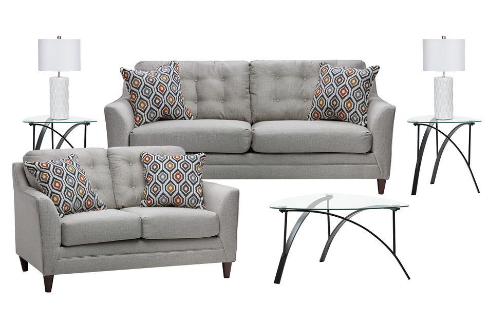 Jensen Light Gray Fabric 7-piece Living Room Package