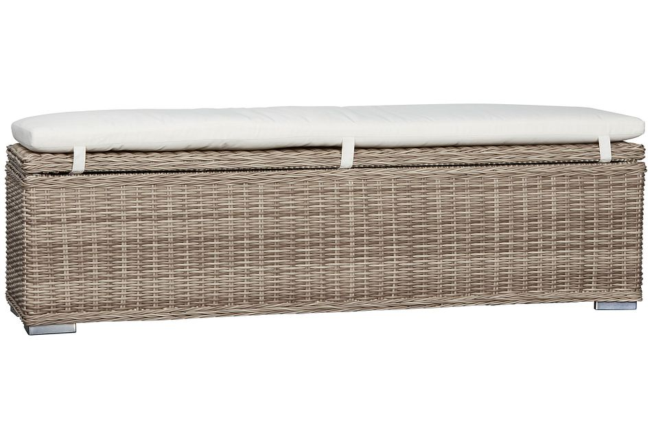 Raleigh White Woven Dining Bench