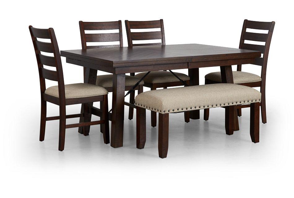 Jax Dark Tone Rect Table, 4 Chairs & Bench,  (1)