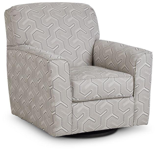Daylon Light Gray Micro Swivel Accent Chair (1)