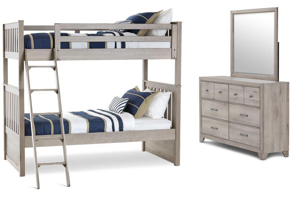 Rivercreek Gray Wood Bunk Bed Bedroom