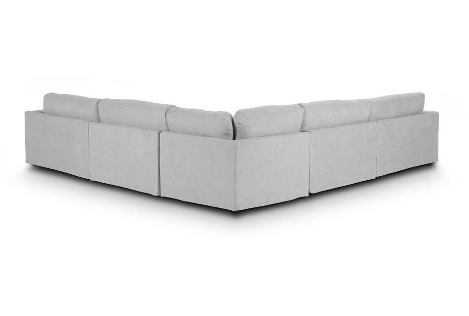 Cozumel Light Gray Fabric 5-Piece Modular Sectional, %%bed_Size%% (2)