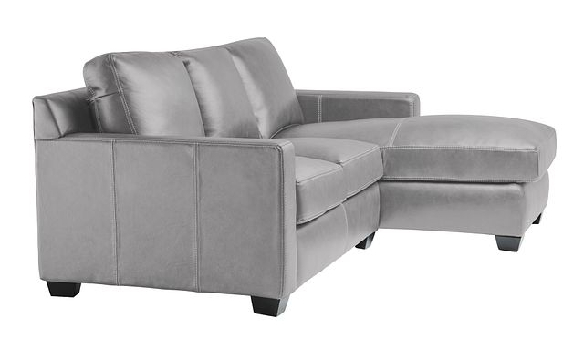Carson Gray Leather Right Chaise Sectional (1)