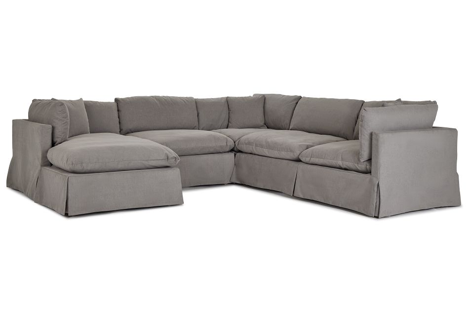 Raegan Gray Fabric Small Left Chaise Sectional,  (1)