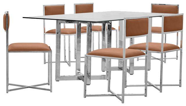 Amalfi Brown Glass Rectangular Table & 4 Metal Chairs (0)