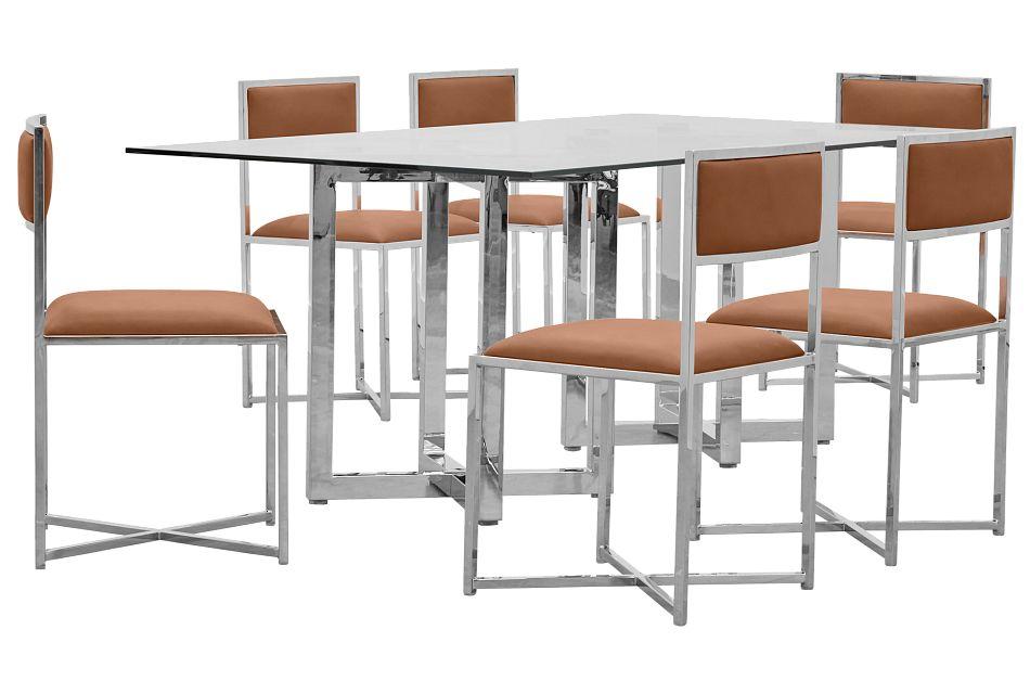 Amalfi Brown Glass Rectangular Table & 4 Metal Chairs