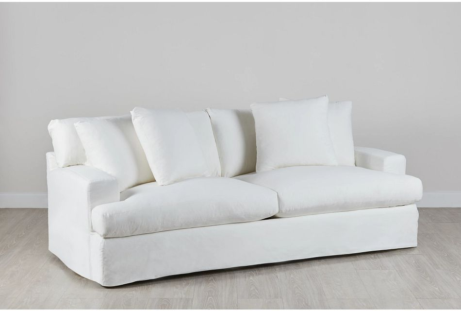 Delilah White Fabric Sofa Living Room