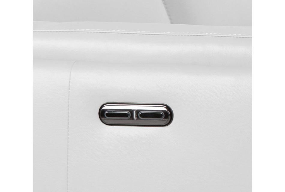 Atlas White Lthr/vinyl Medium Dual Power Left Chaise Sectional