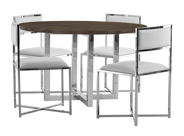 Amalfi White Wood Round Table & 4 Metal Chairs (0)