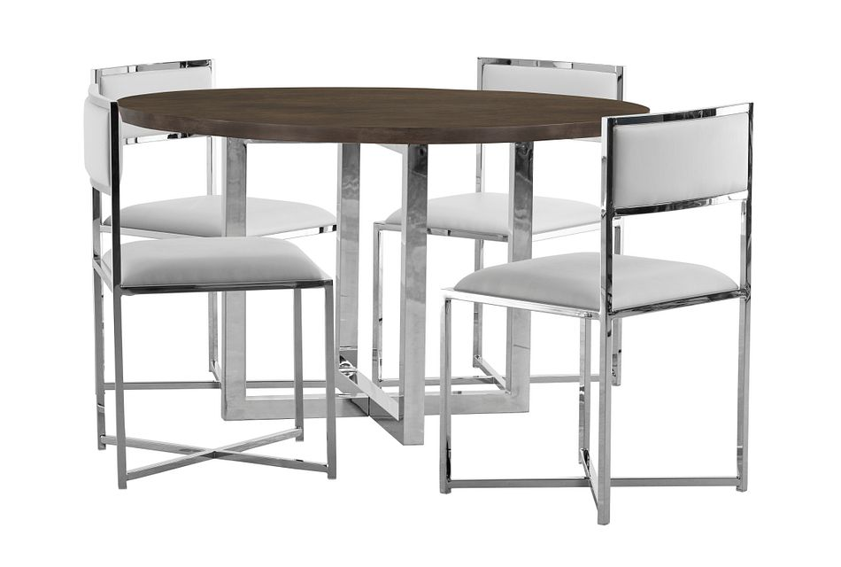 Amalfi White Wood Round Table & 4 Metal Chairs