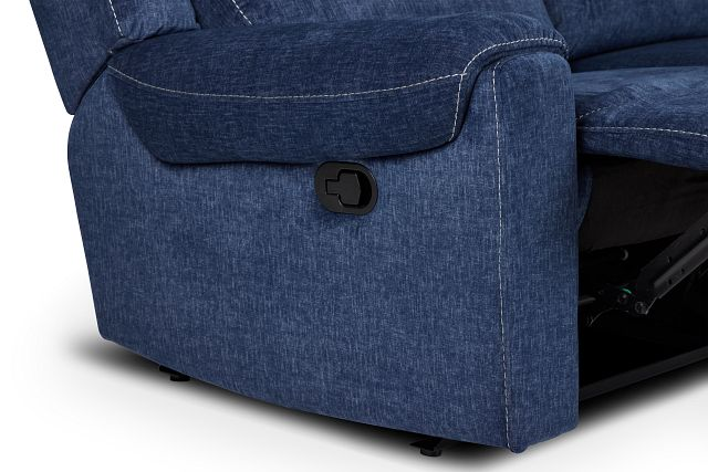 Beckett Dark Blue Micro Small Two-arm Manually Reclining Sectional