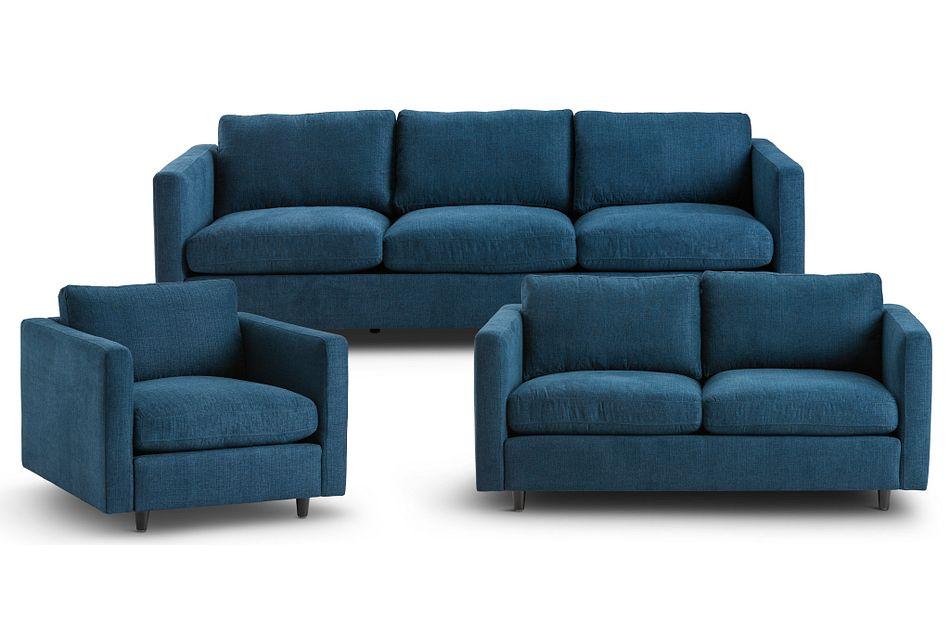 Simone Dark Blue Fabric Living Room