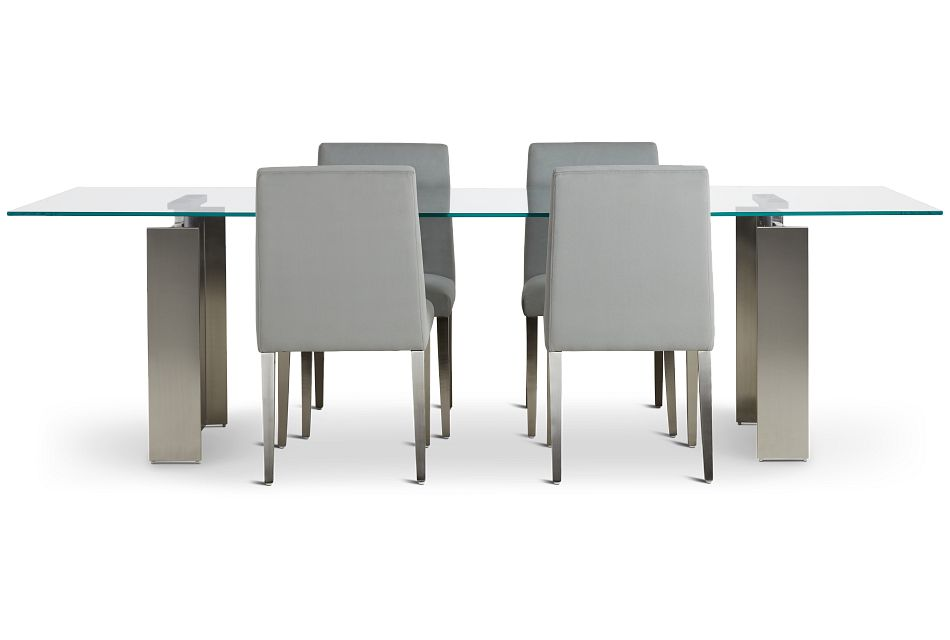 "Omnia Glass 104"" Rectangular Table & 4 Metal Chairs,  (3)"