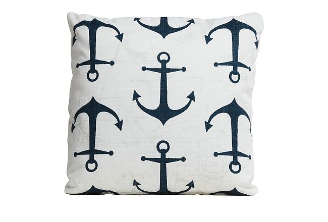 """Anchor White 18"""" Indoor/outdoor Accent Pillow"""