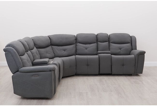 Calvin Light Gray Micro Large Dual Power Reclining Two-arm Sectional