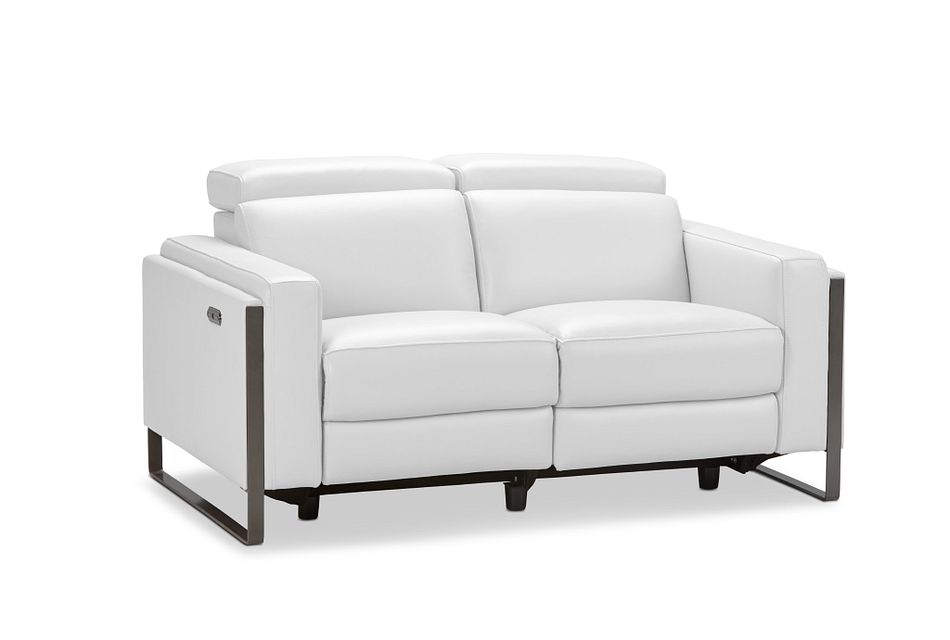 Atlas White Lthr/vinyl Power Reclining Loveseat