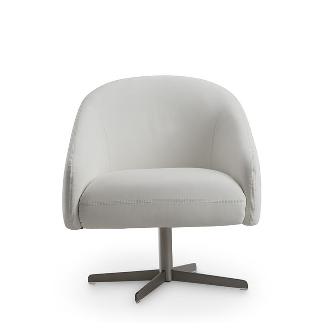 Frankie White Swivel Accent Chair (3)