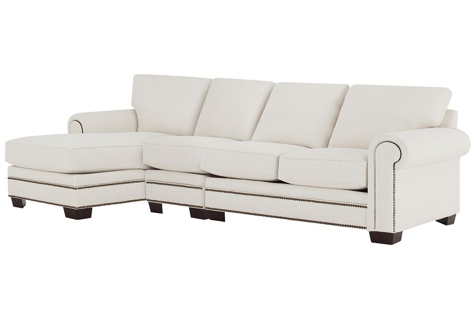 Foster White Fabric Small Left Chaise Sectional