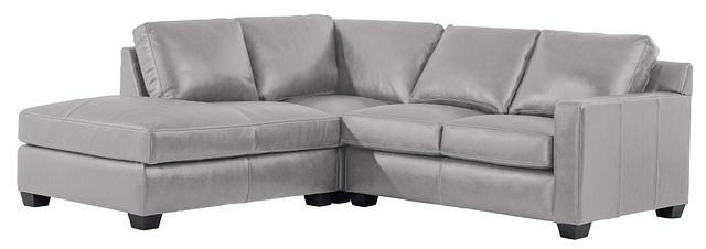 Carson Gray Leather Left Bumper Sectional (0)