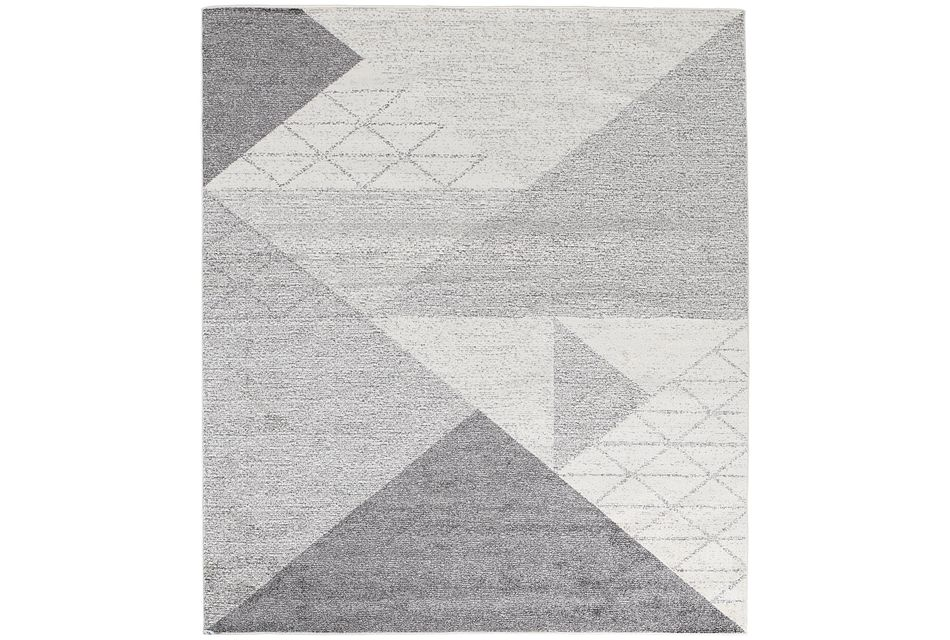 Geo Light Gray 8x10 Area Rug