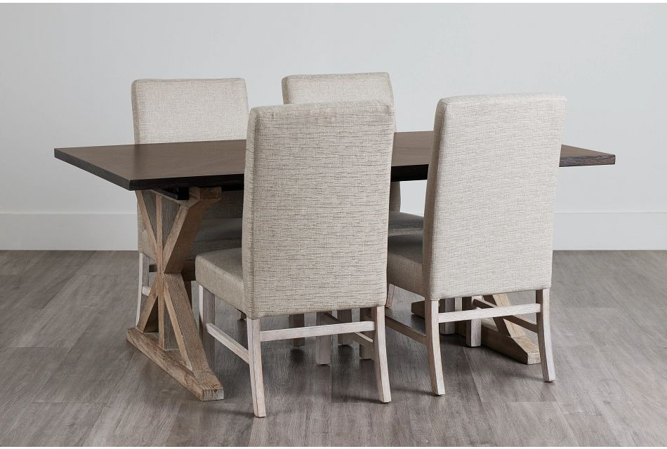 Jefferson Two-Tone Table & 4 Upholstered Chairs,  (0)