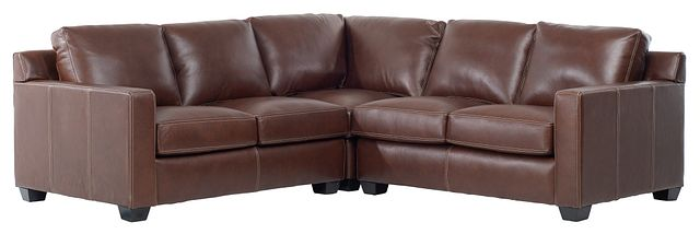 Carson Medium Brown Leather Small Two-arm Sectional (2)