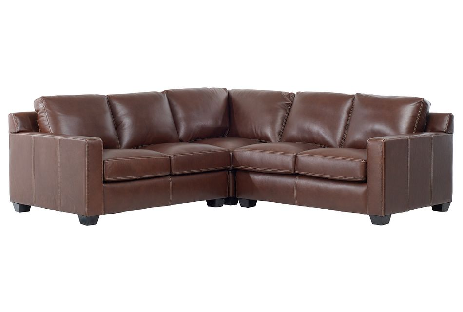 Carson Medium Brown Leather Small Two-arm Sectional