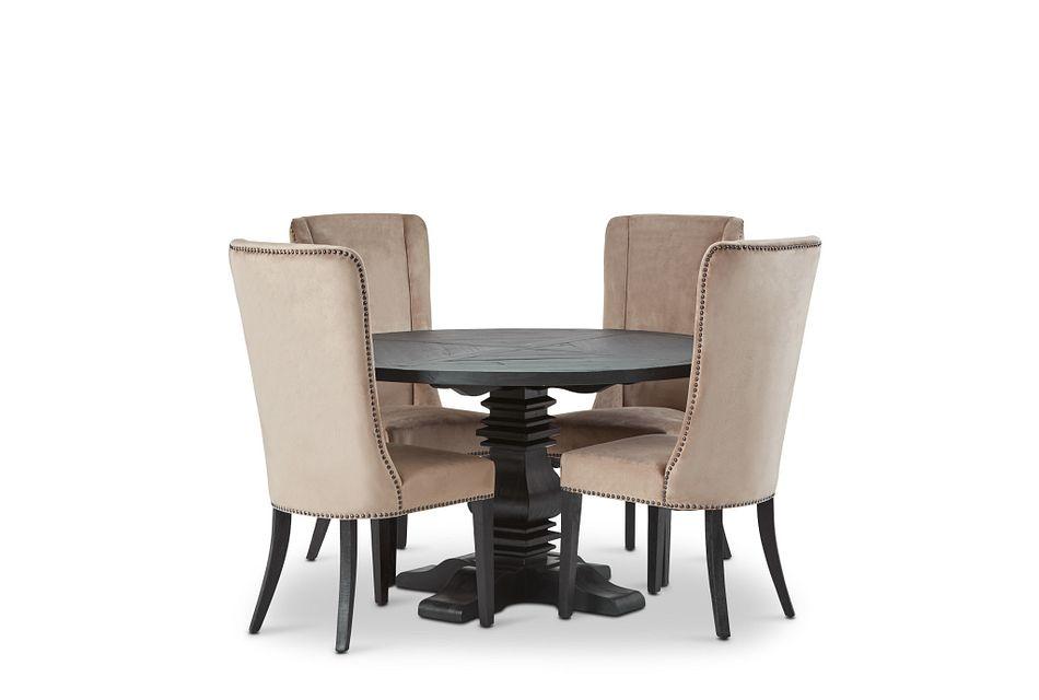 """Hadlow Black 54"""" Table & 4 Velvet Chairs"""