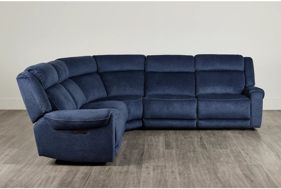 Beckett Dark Blue Micro Small Two-Arm Power Reclining Sectional,  (0)