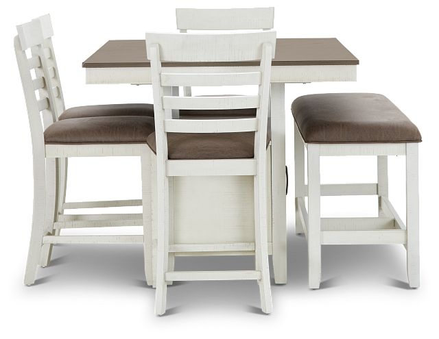 Huntsville Two-tone Rect High Table, 4 Barstools & High Bench (3)