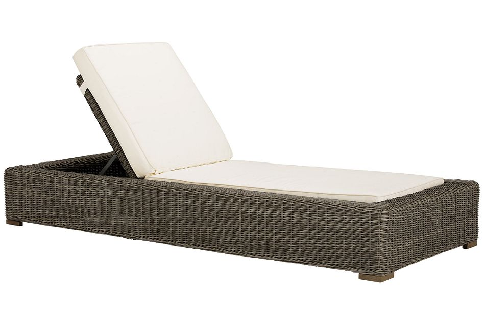 Canyon Gray White Cushioned Chaise