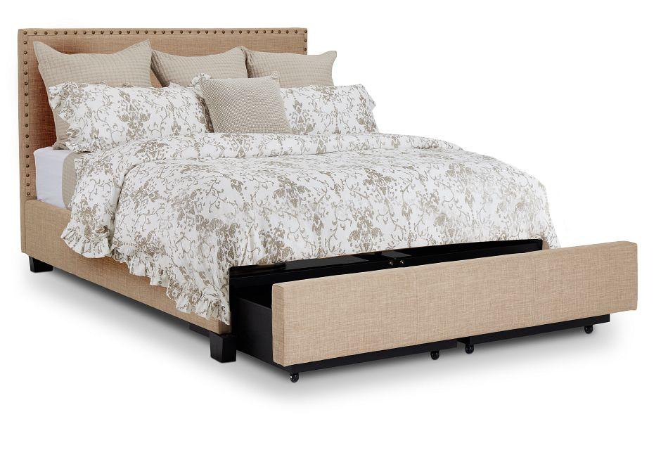 Holden Taupe Uph Platform Storage Bed, Queen (3)