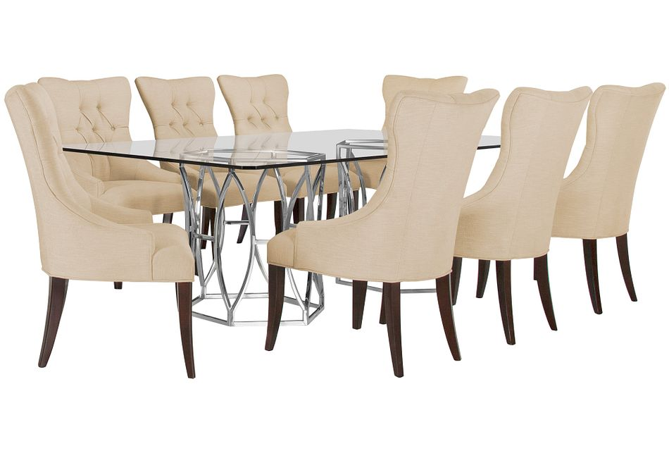 Argent Light Beige Rect Table & 4 Upholstered Chairs