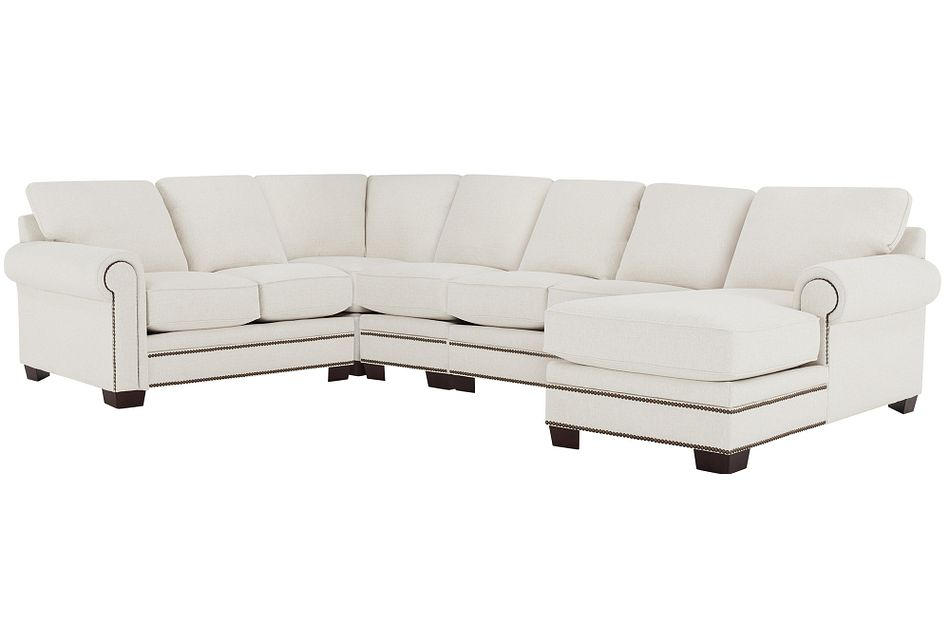 Foster White Fabric Large Right Chaise Sectional