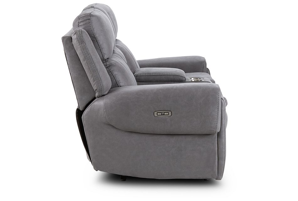 Scout Gray Micro Power Reclining Console Loveseat