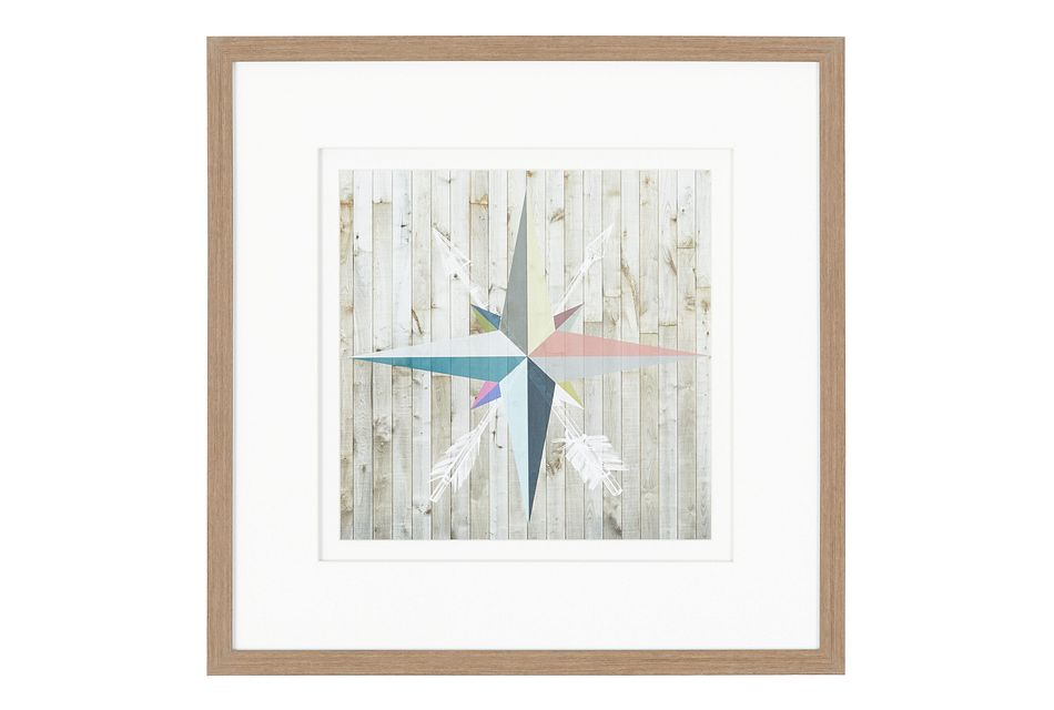 Compass Multicolored Framed Wall Art