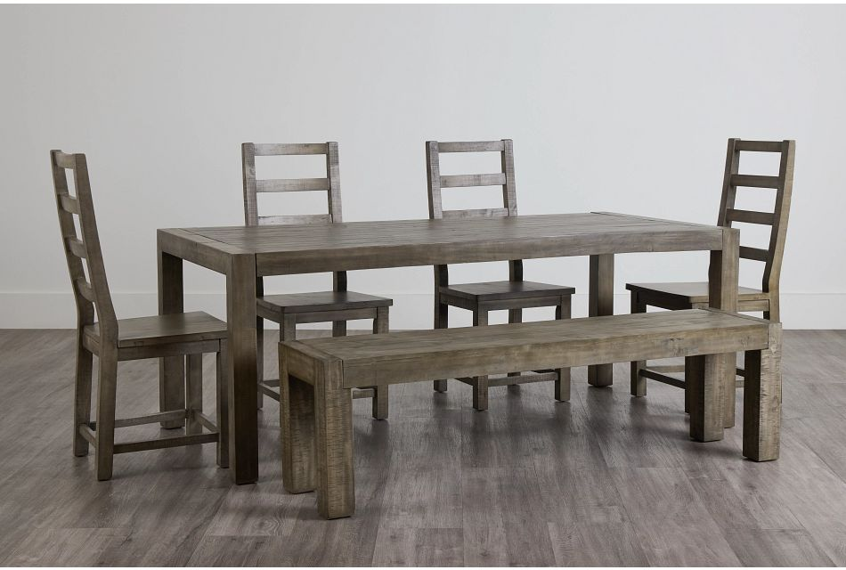 Seattle Gray Rect Table, 4 Chairs & Bench,  (0)