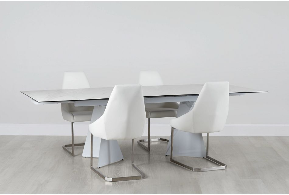 Monaco White Ceramic Table & 4 Upholstered Chairs